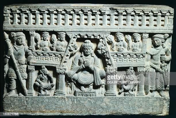 The Paradise of Maitreya Bodhisattva of the future basalt relief from the Shotorak monastery Kapisha Region Afghanistan Afghan Civilisation 1st2nd...