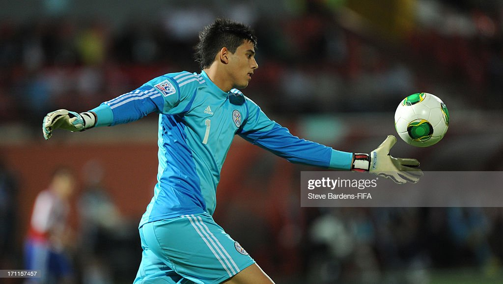 The Paraguay goalkeeper Diego Morel kicks the ball out during the FIFA U20 World Cup Group D match between Paraguay and Mali at Kamil Ocak Stadium on June 22, 2013 in Gaziantep, Turkey.