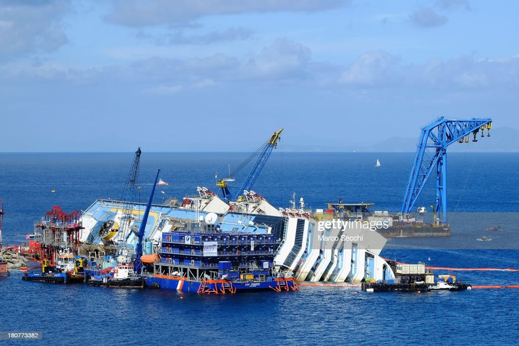 The parbuckling project to raise the stricken Costa Concordia continues on September 16, 2013 in Isola del Giglio, Italy. Work begins today to right the stricken Costa Concordia vessel, which sank on January 12, 2012. If the operation is successful, it will then be towed away and scrapped. The procedure, known as parbuckling, has never been carried out on a vessel as large as Costa Concordia before.