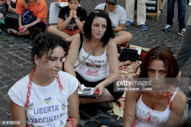 The Parent Associations in Pantheon Place protest against compulsory vaccination law on July 19 2017 in Rome Italy