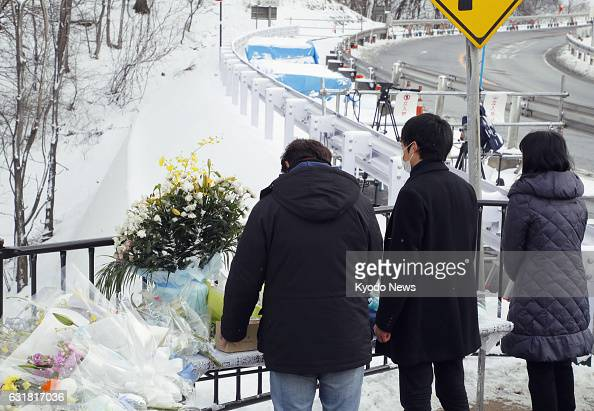 The parents and brother of Eri Ikeda a university student who died in a ski tour bus crash with 14 other people in Karuizawa Japan in 2016 visit the...
