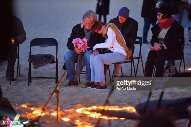 The parents of Justine Damond John Ruszczyk and Maryan Heffernan are seen during a vigil for their daughter at Freshwater Beach on July 19 2017 in...