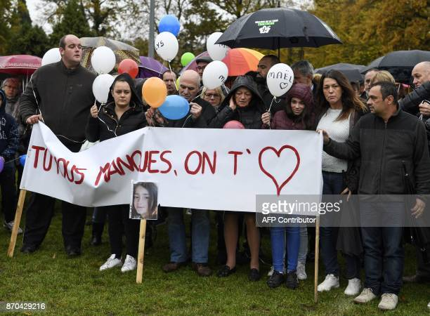 The parents of missing French girl Maelys de Araujo Jennifer and Joachim are joined by others as they gather in Les AbretsenDauphiné eastern France...