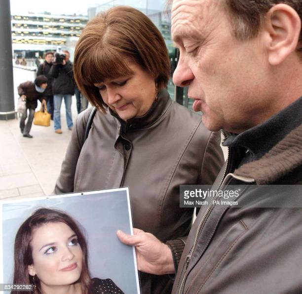 The parents of murdered British teacher Lindsay Ann Hawker from Brandon near Coventry Bill and Julia Hawker answer questions at Heathrow's Terminal 3...