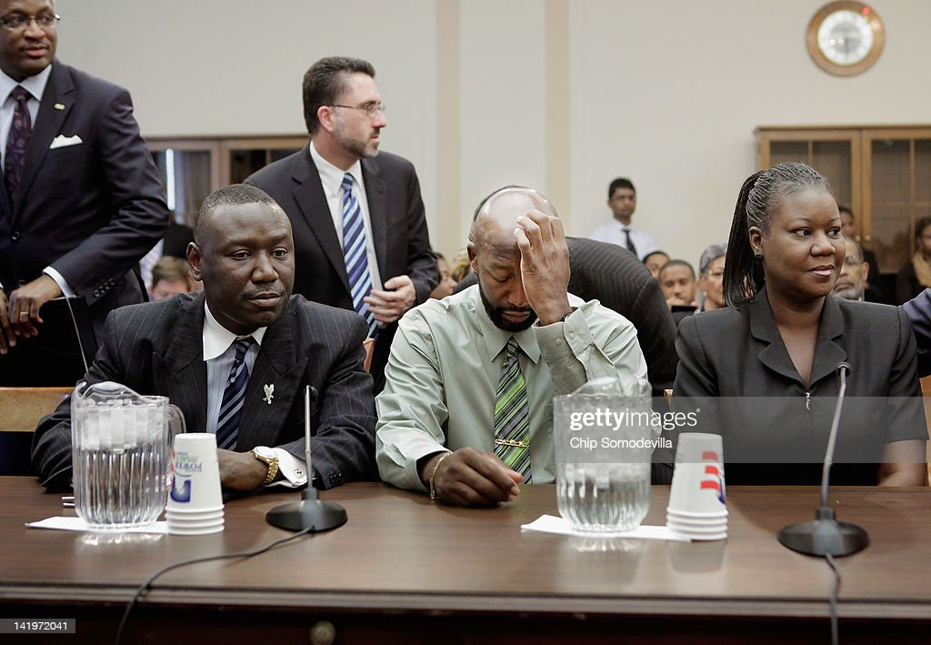 The parents of Trayvon Martin, <a gi-track='captionPersonalityLinkClicked' href=/galleries/search?phrase=Tracy+Martin+-+Father+of+Trayvon+Martin&family=editorial&specificpeople=9075765 ng-click='$event.stopPropagation()'>Tracy Martin</a> (C) and <a gi-track='captionPersonalityLinkClicked' href=/galleries/search?phrase=Sybrina+Fulton&family=editorial&specificpeople=9024062 ng-click='$event.stopPropagation()'>Sybrina Fulton</a>(R), and their attorney <a gi-track='captionPersonalityLinkClicked' href=/galleries/search?phrase=Benjamin+Crump+-+Attorney&family=editorial&specificpeople=9042867 ng-click='$event.stopPropagation()'>Benjamin Crump</a> (L) attend a House Judiciary Committee briefing in the Rayburn House Office Building on Capitol Hill March 27, 2012 in Washington, DC. On Feb. 26, 2012, 17-year-old Trayvon Martin was shot and killed by George Zimmerman, a neighborhood watch captain, as Martin was walking in a gated community where his father's girlfriend lives.