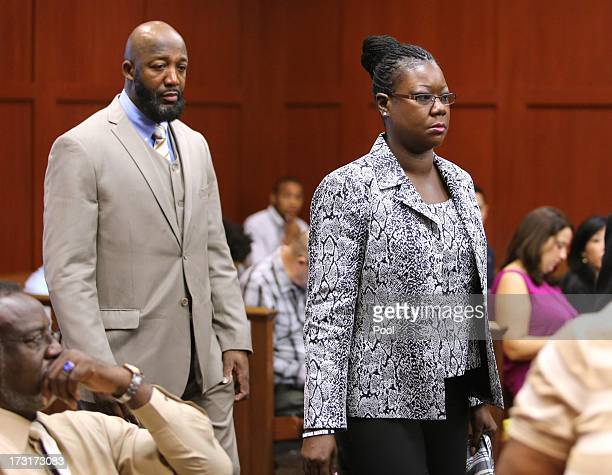 The parents of Trayvon Martin Tracy Martin and Sybrina Fulton arrive in the courtroom for the George Zimmerman trial in Seminole circuit court July 9...