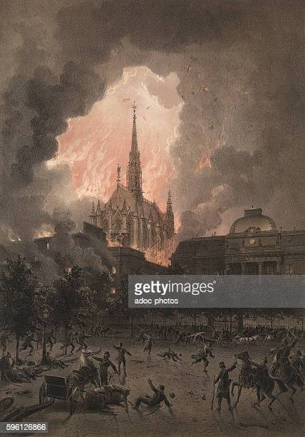 The Paris Commune of 1871 The SainteChapelle in Paris during the fire of the law court On May 24 1871 Lithography in colour by Léon Sabatier