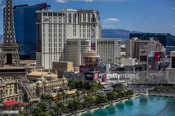 The Paris Las Vegas and Planet Hollywood Resort Casino are viewed on May 19 2015 in Las Vegas Nevada Tourism in America's 'Sin City' has within the...
