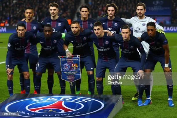 The Paris SaintGermain players line up for a team photograph before the UEFA Champions League Round of 16 first leg match between Paris SaintGermain...