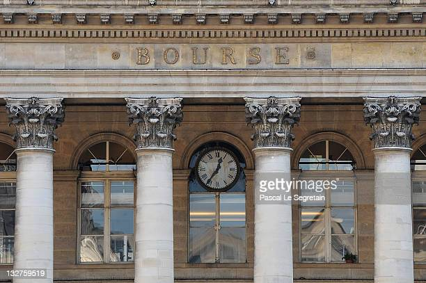 The Paris Stock Exchange facade is seen on November 14 2011 in Paris France Following the austerity package that lead to the resignation of Italian...