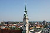 Munich, Bavaria. The parish church of St. Peter at Marienplatz.
