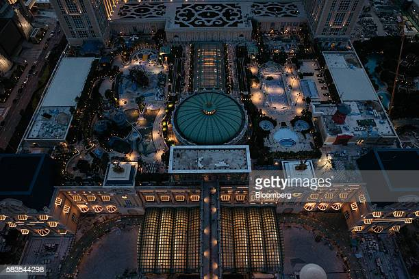 The Parisian Macao casino resort operated by Sands China Ltd a unit of Las Vegas Sands Corp is seen from the Parisian's Eiffel Tower attraction in...