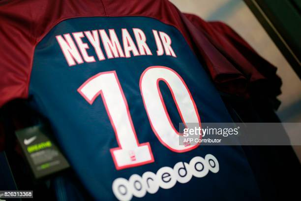 The ParisSaintGermain Neymar's number 10 jersey on display at the ParisSaintGermain football club store on the Champs Elysees avenue in Paris on...