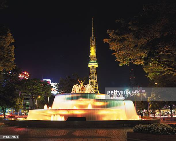 The Park and TV Tower, Nagoya City, Japan, Front View, Long Exposure