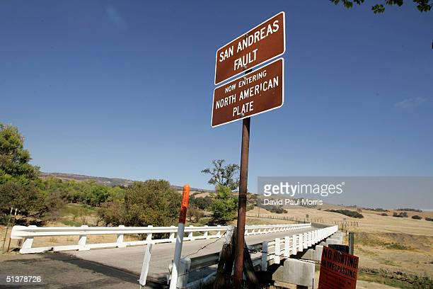 The Parkfield Coalinga bridge crosses over the San Andreas fault on the Parkfield Coalinga Road on September 30 2004 Parkfield California The tiny...