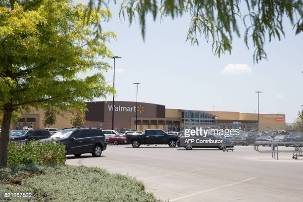 The parking lot of a Walmart where a truck trailer was found with 8 deceased immigrants early in the morning is seen on July 23 2017 in San Antonio...