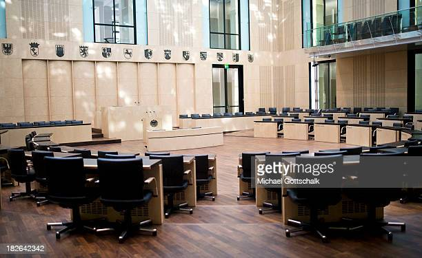 The parlamentary room in the Bundesrat Germany's second house of parliament on October 02 2013 in Berlin Germany