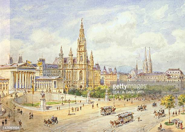 The Parliament Building and the Franzens Ring in Vienna Austria 19th Century