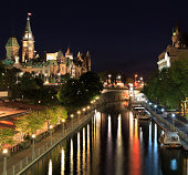 'The Parliament of Canada and Rideau Canal at night, Ottawa'
