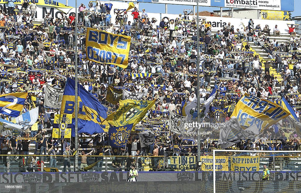 The Parma FC fans show their support before the Serie A match between Parma FC and Udinese Calcio at Stadio Ennio Tardini on April 14, 2013 in Parma, Italy.