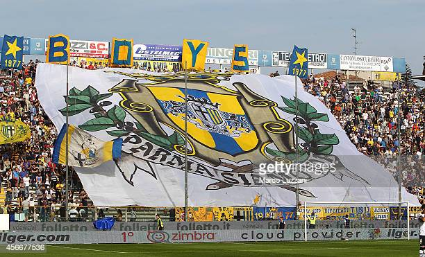 The Parma FC fans show their support before the Serie A match between Parma FC and Genoa CFC at Stadio Ennio Tardini on October 5 2014 in Parma Italy