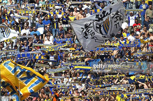 The Parma FC fans show their support during the Serie A match between Parma FC and Hellas Verona FC at Stadio Ennio Tardini on May 24 2015 in Parma...