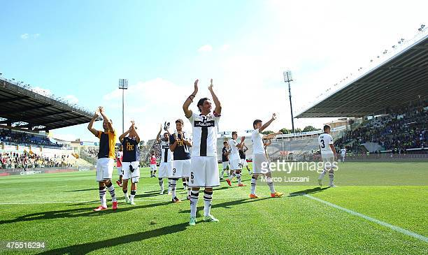 The Parma FC players salute the fans at the end of Serie A match between Parma FC and Hellas Verona FC at Stadio Ennio Tardini on May 24 2015 in...