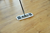 cleaning gear mopping a living room floor with parquet