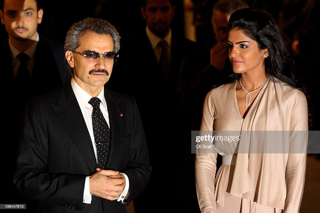 The part owner of The Savoy HRH Prince Alwaleed Bin Talal Bin Abdulaziz Alsaud and his wife, Princess Amira, arrive to greet the Prince of Wales as he officially reopens The Savoy following an extensive refit on November 2, 2010 in London, England. The Savoy hotel, which originally opened in 1889, closed for refurbishment and restoration of the entire building by over 1000 craftsmen in December 2007 and began receiving guests again on October 10, 2010.