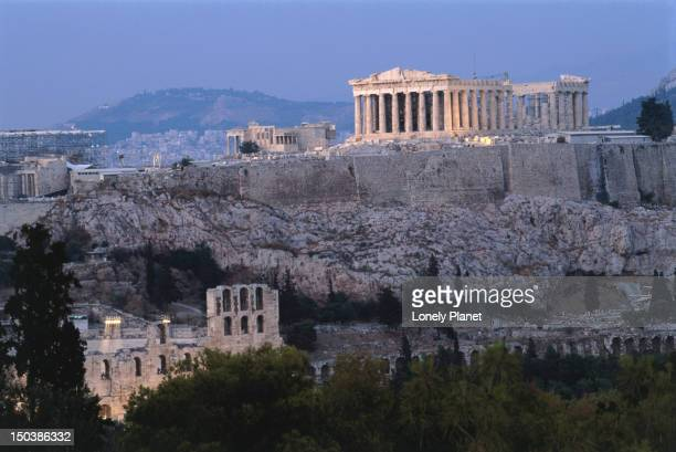 The Parthenon and Acropolis from Filopappou Hill.