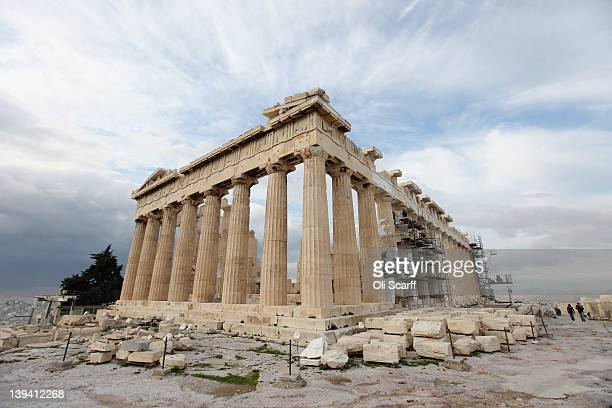 The Parthenon on the Acropolis as restoration takes place on February 20 2012 in Athens Greece Following a meeting on Wednesday finance ministers...