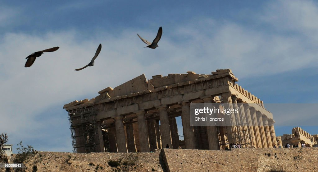 The Parthenon sits atop the Acropolis March 26, 2010 in Athens, Greece. Leaders of the sixteen euro zone countries along with the International Monetary Fund agreed March 26 to provide Greece with a 22 billion euro loan to help the country with its staggering debts, though it will only be available if open market lending to Greece dries up.