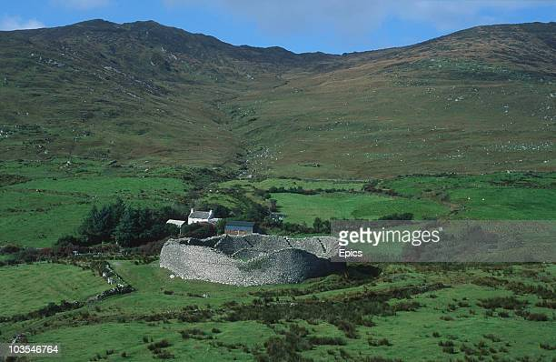 The partial ruins of Staigue stone fort thought to have been built in the iron age Sneem County Kerry circa 1995