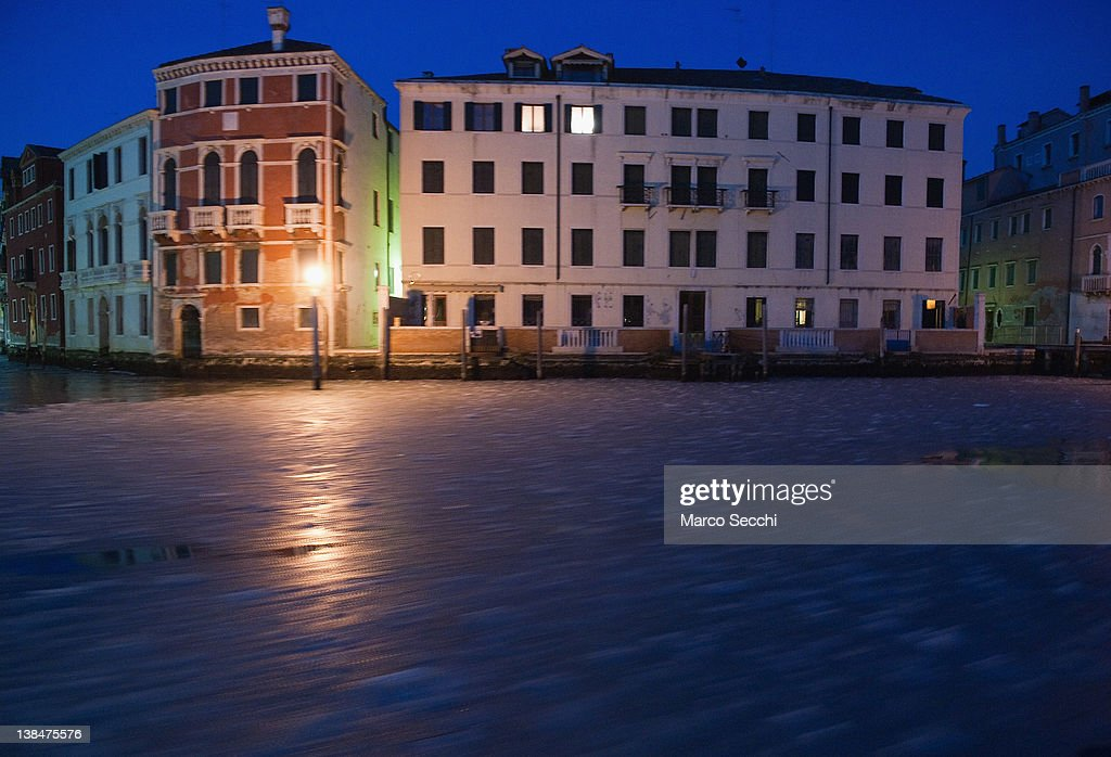 The partially frozen Grand Canal is seen from a Vaporetto (waterbus) before sunrise on February 7, 2012 in Venice, Italy. Italy, like most of Europe, is experiencing freezing temperatures, with the Venice Lagoon freeezing for the first time in over 20 years.