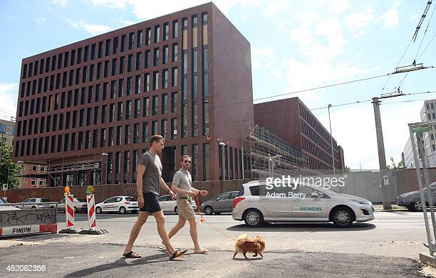 The partiallyfinished new headquarters building of Germany's Federal Intelligence Service the Bundesnachrichtendienst is seen on July 12 2014 in...