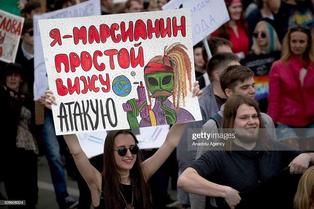 The participants are seen during 'Monstration', a May Day comic demonstration at the central city street in Novosibirsk, Russia, on May 01, 2016.