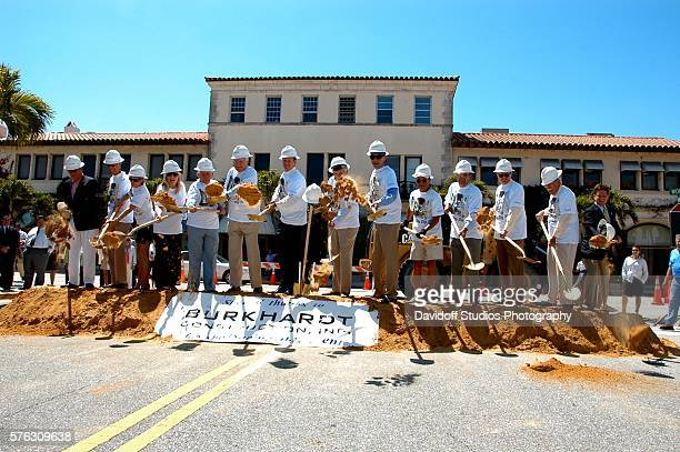 The participants shovel dirt during groundbreaking ceremony for the Worth Avenue Restoration Project Palm Beach Florida April 7 2010 Among those...