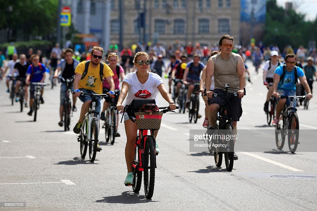 The participants with cycle are seen at the 6th Annual Moscow Bike Parade on Prospekt Akademika Sakharova, in Moscow, Russia, on May 29, 2016. The yearly event is organized by the Let's Bike It project, in Russia that bring together more than 30,000 people from across the country 16 kilometers route has been completed.