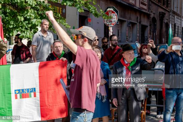 The partisan Umberto Graziani 93 years greets the Antifascists with clenched fist during the parade in remembrance of the struggle for liberation...