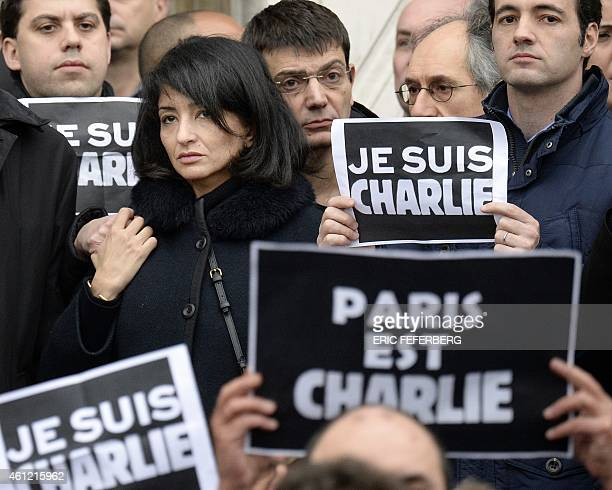 The partner of slain Charlie Hebdo editor Charb Jeannette Bougrab and Eric Portheault financial director of French satirical weekly newspaper Charlie...