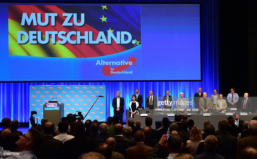 The party board of the 'Alternative fuer Deutschland' (AfD) political party, and the delegates sing the German national anthem at the end of the party's federal congress on May 01, 2016 in Stuttgart, Germany. A server of the party had been hacked by a left political group and the addresses of AfD members has been published. The AfD, a relative newcomer to the German political landscape, has emerged from Euro-sceptic conservatism towards a more right-wing leaning appeal based in large part on opposition to Germany's generous refugees and migrants policy. Since winning seats in March elections in three German state parliaments the party has sharpened its tone, calling for a ban on minarets and claiming that Islam does not belong in Germany.