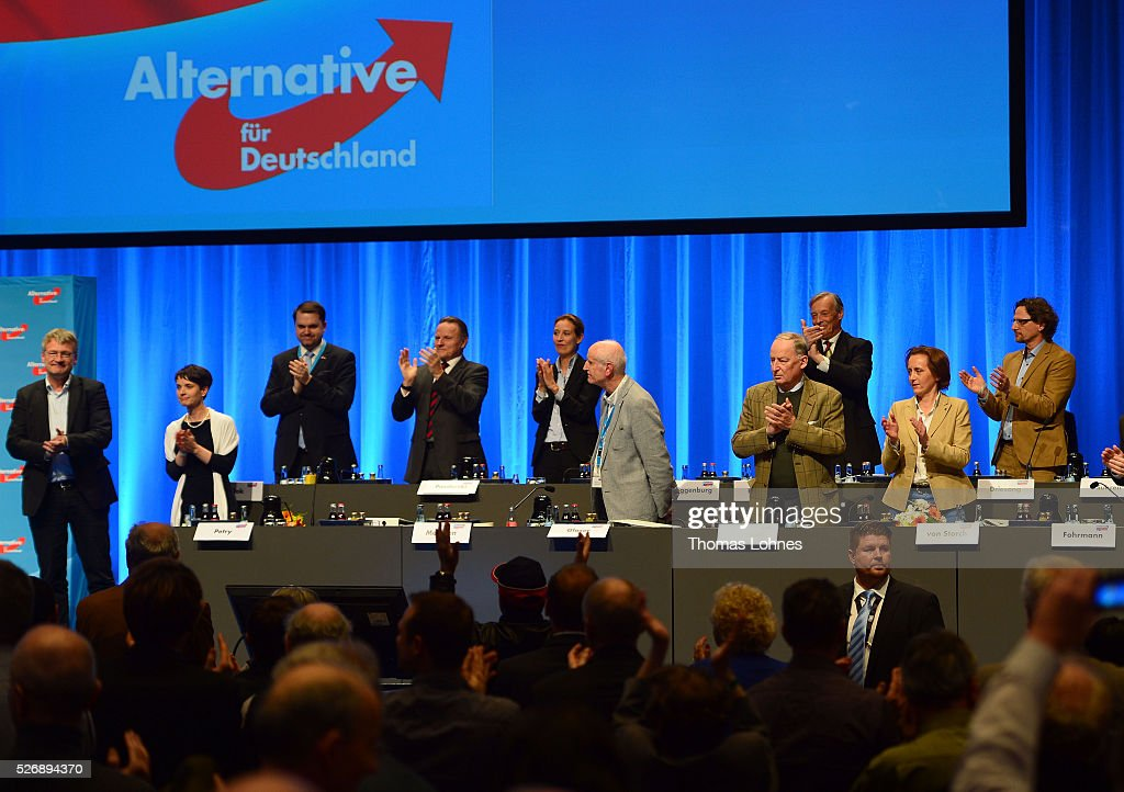 The party board of the 'Alternative fuer Deutschland' (AfD) political party react at the end of the party's federal congress on May 01, 2016 in Stuttgart, Germany. A server of the party had been hacked by a left political group and the addresses of AfD members has been published. The AfD, a relative newcomer to the German political landscape, has emerged from Euro-sceptic conservatism towards a more right-wing leaning appeal based in large part on opposition to Germany's generous refugees and migrants policy. Since winning seats in March elections in three German state parliaments the party has sharpened its tone, calling for a ban on minarets and claiming that Islam does not belong in Germany.