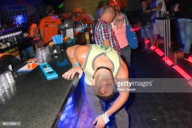 The Party Crew employee Harvey at the Disco Orange night club opening season party