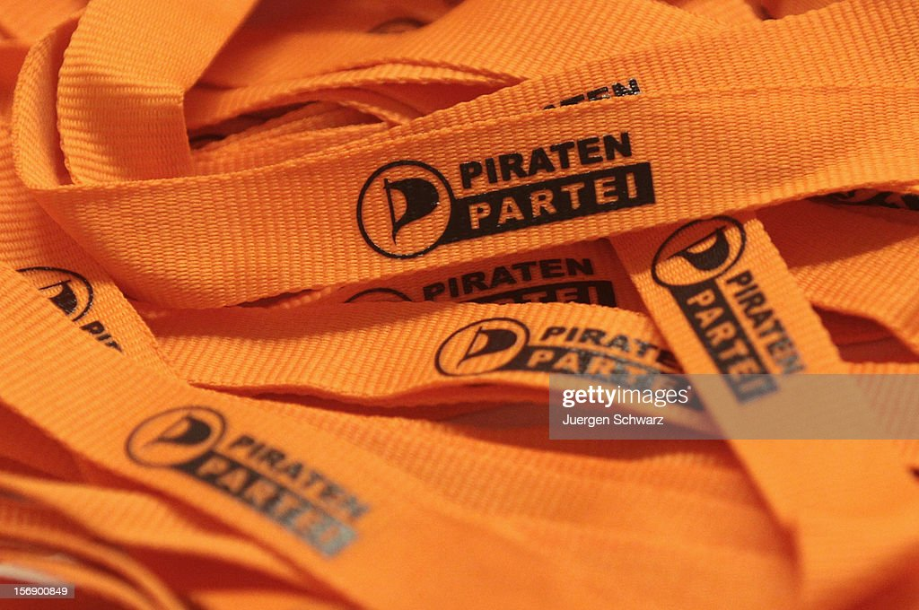 The party logo is printed on lanyards at the federal party convention of the German Pirates Party (Die Piratenpartei) on November 24, 2012 in Bochum, Germany. The Pirates, after riding an initial surge in popularity last year that landed them seats in several German state parliaments, have since seen their popularity erode as recent scandals and infighting have tarnished the party's image. Germany faces federal elections in 2013.