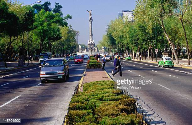 The Paseo de la Reforma, Mexico City's major arterial and the landmark Monument to Independence