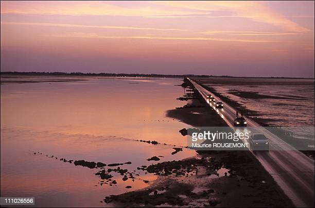 The Passage of the Gois is only passable at low tide in the Ile de Noirmoutier France on October 17th 2005