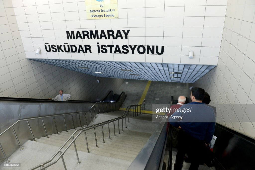 The passengers arrive the Uskudar station of The Marmaray, the railway system linking the eastern and western sides of Istanbul from under the Marmara Sea, on the first day after its opening ceremony, October 30, 2013, Istanbul, Turkey. The Marmaray, Turkey's dream for 153 years, opened in Istanbul on the 90th anniversary of Republic of Turkey on October 29.