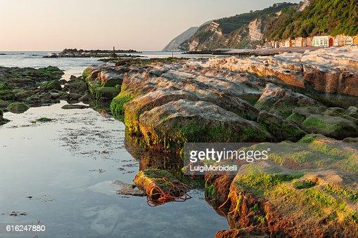 The passetto rocks at sunrise, Ancona, Italy : Foto de stock