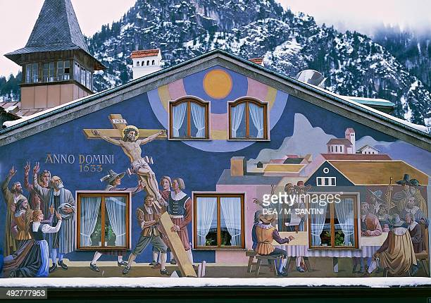 The Passion and The Crucifixion fresco on the facade of a house in Oberammergau Bavaria Germany