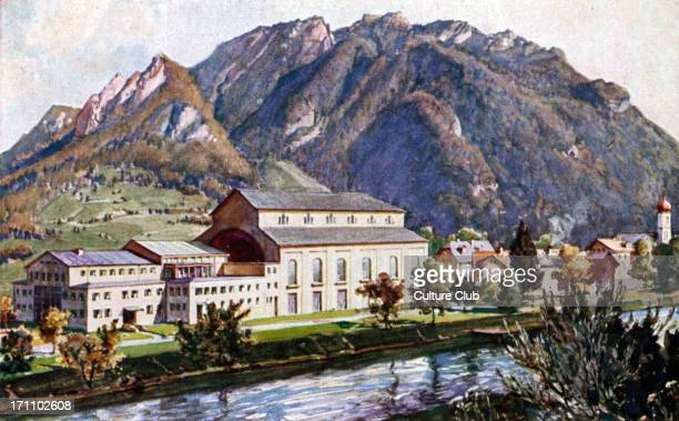 The 'Passionstheater' in Oberammergau Austria Surrounded by 'Labergebirge' mountain range